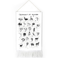"""Tapisserie bébé en coton bio """"L'alphabet des animaux"""" Wee Gallery"""
