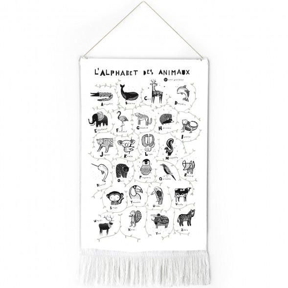 """Tapisserie en coton bio """"L'alphabet des animaux"""" (en français)"""