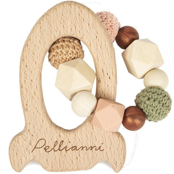"""Anneau de dentition en bois avec perles en silicone et coton """"Fusée Automne"""""""