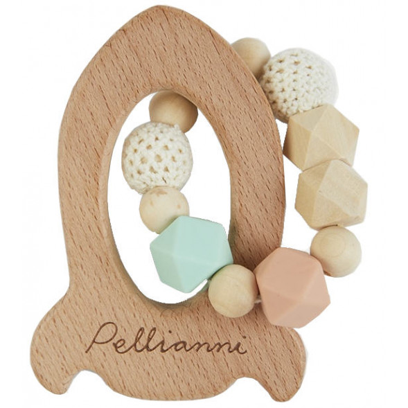 """Anneau de dentition en bois avec perles en silicone et coton """"Fusée Original"""""""