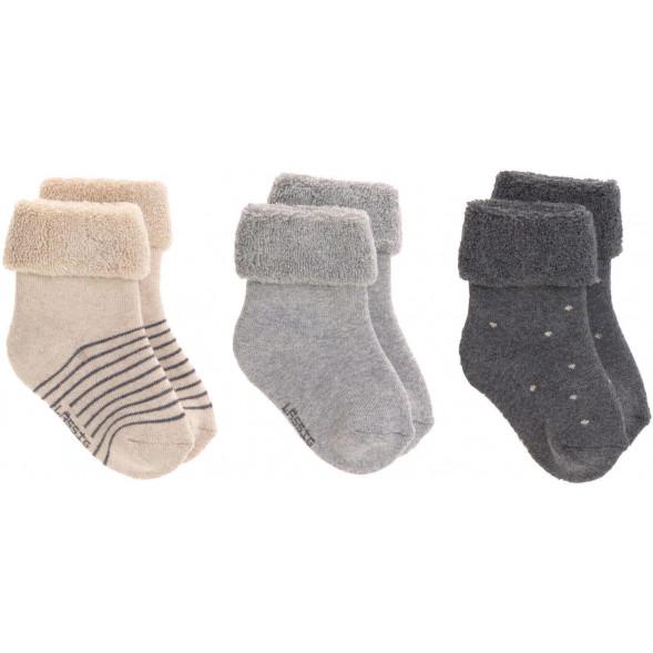 """Chaussettes bébé (12-24 mois) en coton bio """"Gris"""" (x3)"""