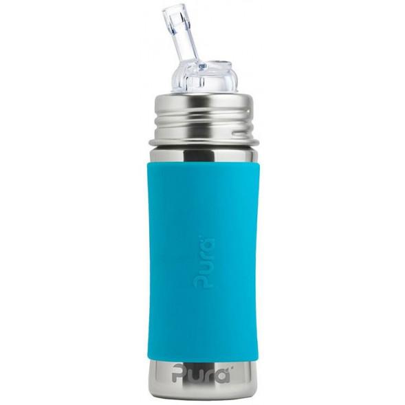 """Gourde en inox isotherme (325 ml) avec paille """"Bleu"""""""