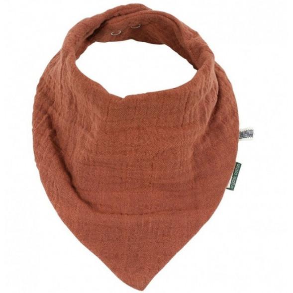 """Bavoir bandana en mousseline de coton bio et éponge """"Bliss Rust"""""""