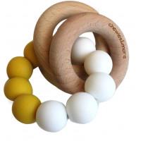 """Hochet de dentition en bois et perles de silicone """"Ocre / Blanc""""  Chewies & More"""