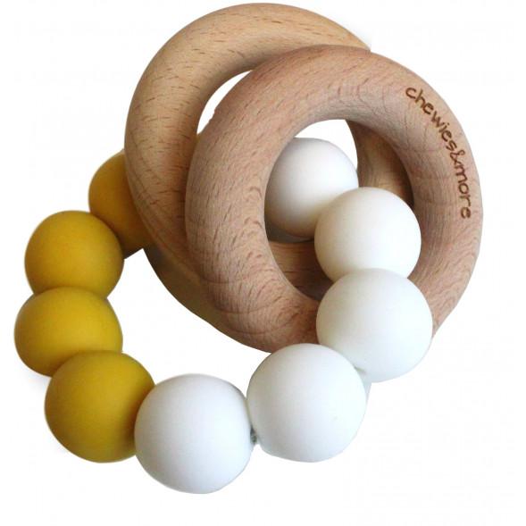 """Hochet de dentition en bois et perles de silicone """"Ocre / Blanc"""""""
