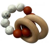 """Hochet de dentition en bois et perles de silicone """"Rusty Cinnamon / Marble""""  Chewies & More"""