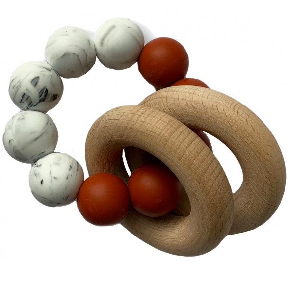 "Hochet de dentition en bois et perles de silicone ""Rusty Cinnamon / Marble"""