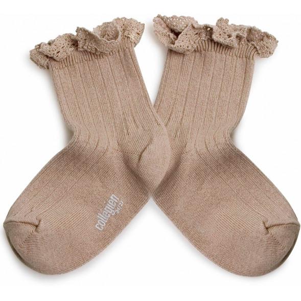 """Chaussettes courtes enfant en coton égyptien avec dentelle Lili """"Petite Taupe"""""""