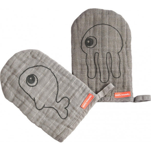 "Gants de toilette bébé en mousseline de coton Sea Friends ""Gris"" (x2)"