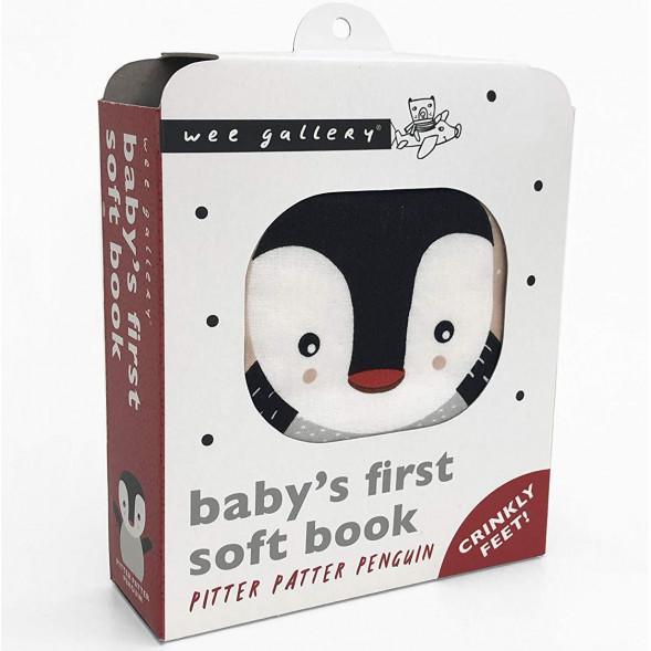 """Livre d'éveil bébé tissu en coton bio """"Pitter Patter Penguin"""" Wee Gallery"""