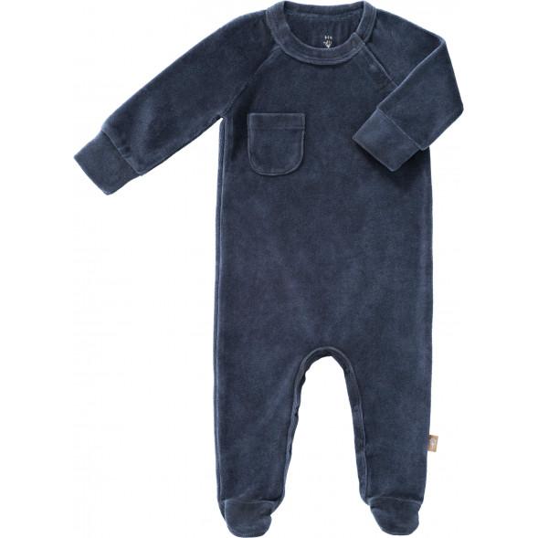 "Pyjama bébé avec pieds en coton bio Velours ""Bleu Indigo"""