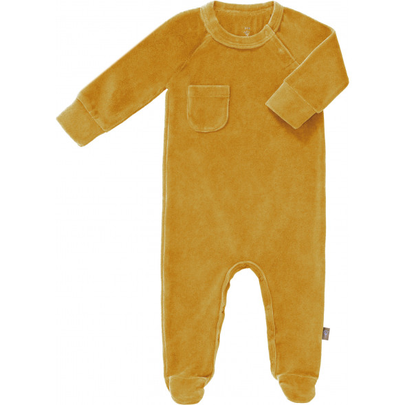 "Pyjama bébé avec pieds en coton bio Velours ""Jaune Mimosa"""