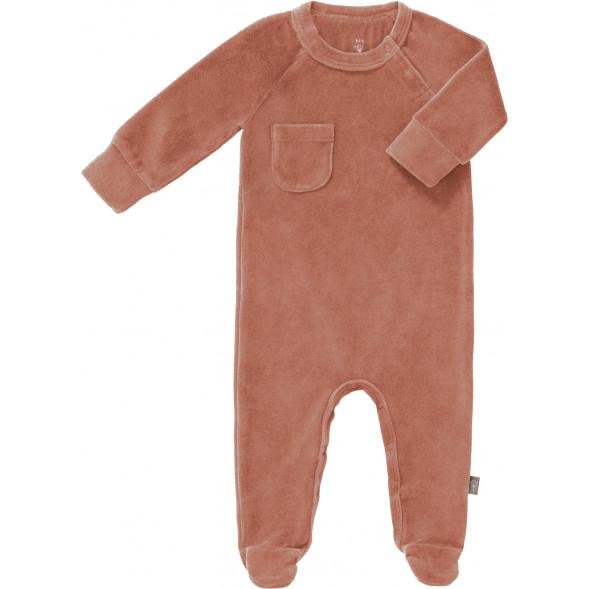 """Pyjama bébé avec pieds en coton bio Velours """"Rose Pâle"""""""
