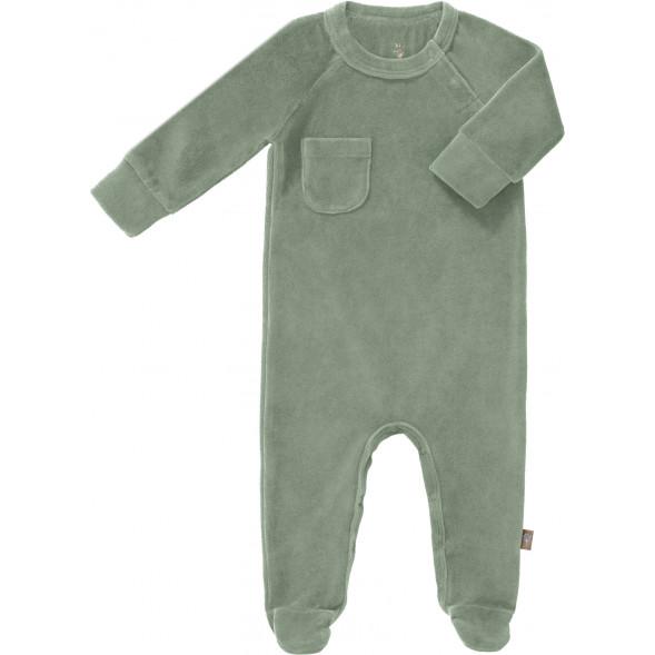 """Pyjama bébé avec pieds en coton bio Velours """"Vert Forêt"""""""