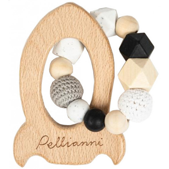 """Anneau de dentition en bois avec perles en silicone et coton """"Fusée Blanc & Noir"""""""