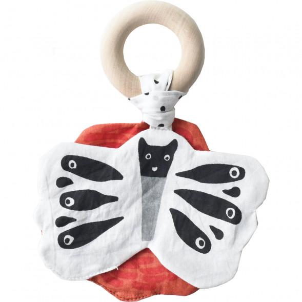 """Anneau de dentition en coton bio (papier froissé) et bois """"Papillon"""""""