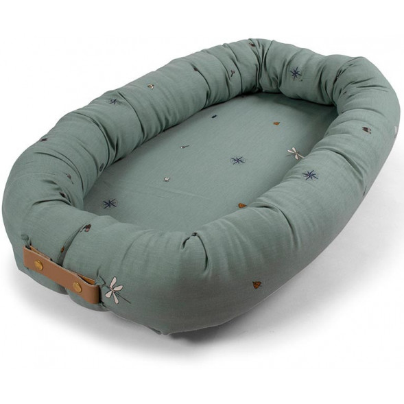 "Couffin Babynest en coton bio ""Little Explorer Moss Green"""