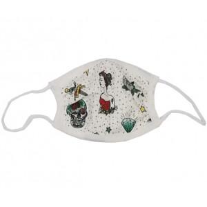"""Masque de protection lavable Enfant en coton biologique """"Tatouage"""" Changemacouche"""