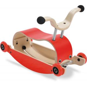 Jouet bébé à rouler en bois Mini-Flip 3 en 1 Rouge/Rouge Wishbone