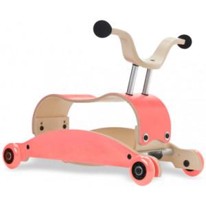 Jouet bébé à rouler en bois Mini-Flip 3 en 1 Rose/Rose Wishbone