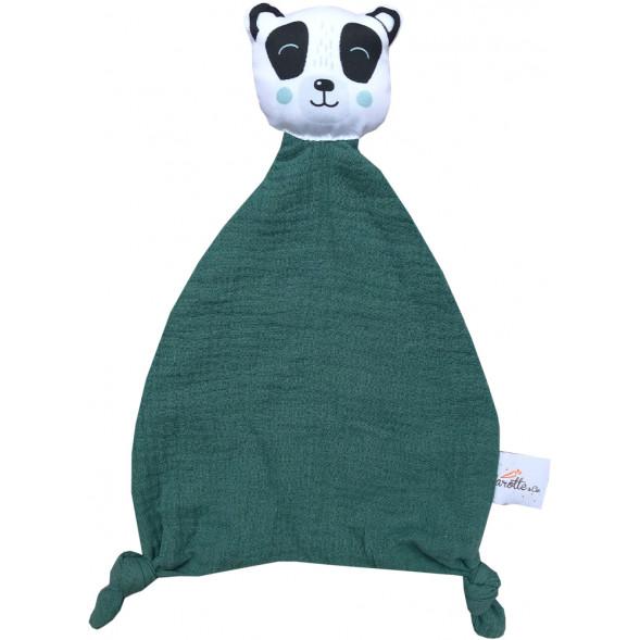 "Doudou Plat en lange de coton bio ""Panda"""
