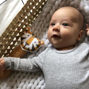 "Hochet bébé gling-gling en coton bio ""Tigre"" Carotte & cie"