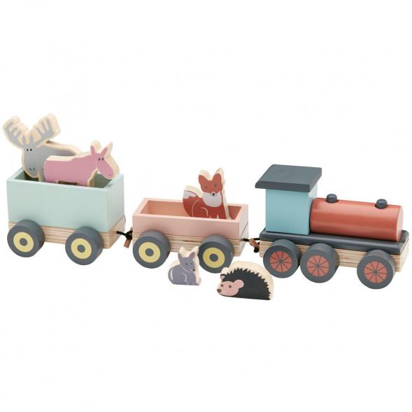 """Train en bois avec animaux """"Edvin"""" (1 an et +)"""