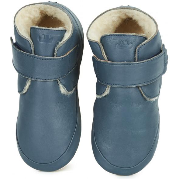 """Chaussons bébé en cuir fourrées en peau de mouton lainée WinterBlu """"Denim"""""""