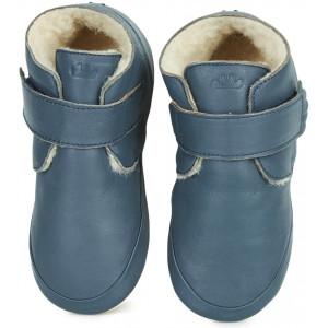 """Chaussons bébé en cuir fourées en peau de mouton WinterBlu """"Denim"""" Easy PEasy"""