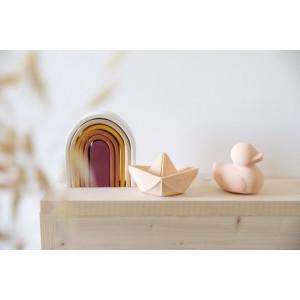 "Jouet de bain écologique Bateau Origami en hevea ""Blanc"" Oli & Carol"