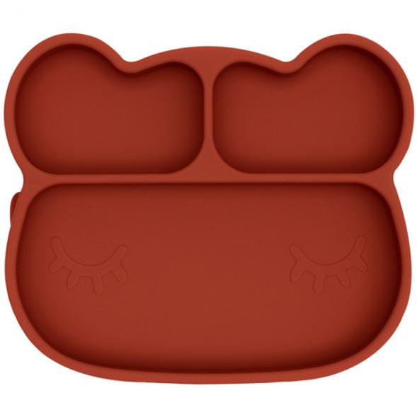 """Assiette à compartiments avec ventouse en silicone """"Ours Rouille"""""""