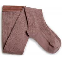 """Collants fille en laine mérinos à maille ajourée Angélique """"Praline de lyon"""" Collégien"""