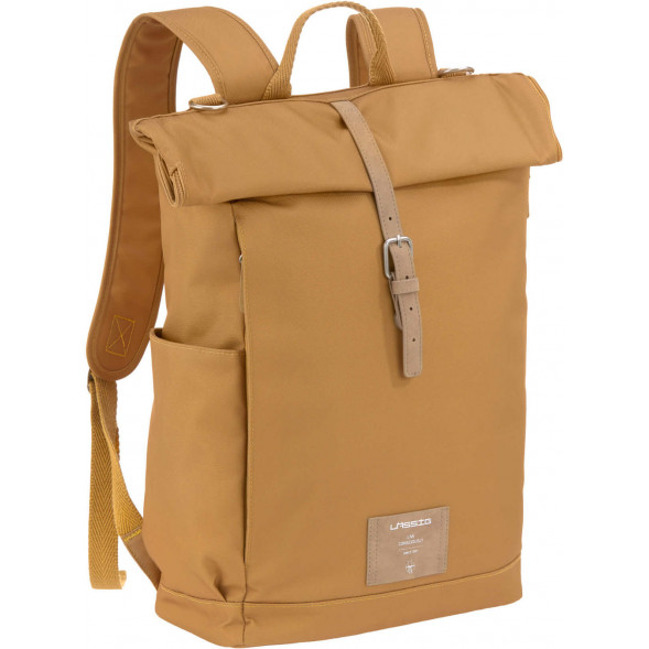 "Sac à langer à dos en PET recyclé Green Label Rolltop ""Curry"""