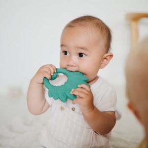 """Anneau de dentition bébé en hevea """"Paon Vert"""" Natruba"""