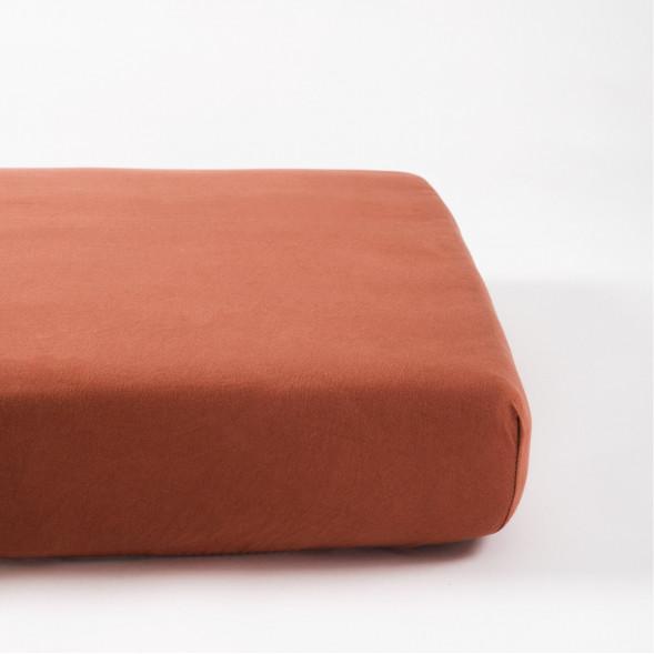 "Drap housse 60x120 en coton bio ""Terracotta"""