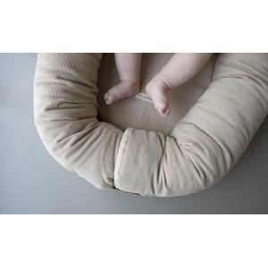 """Couffin bébé Babynest en velours de coton bio Corduroy """"Beige"""" Filibabba"""