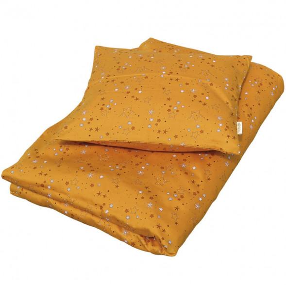 """Housse de couette (100x140 cm) et Taie d'oreiller (40x45 cm) en coton bio """"Stars Golden Mustard"""""""