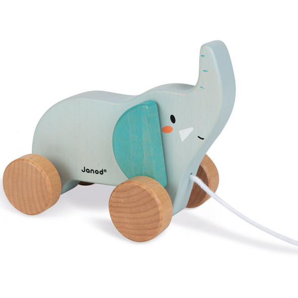 """Jouet en bois à tirer """"Eléphant"""" en bois (1-3 ans)"""