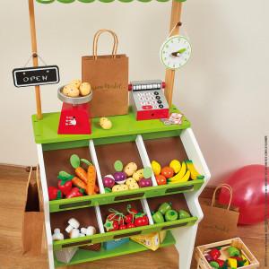 "Marchande en bois ""Epicerie Green Market"" (3-8 ans) Janod"