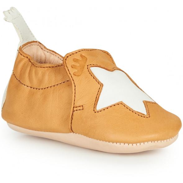 "Chaussons bébé en cuir Blumoo ""Etoile Oxi/Blanc"""