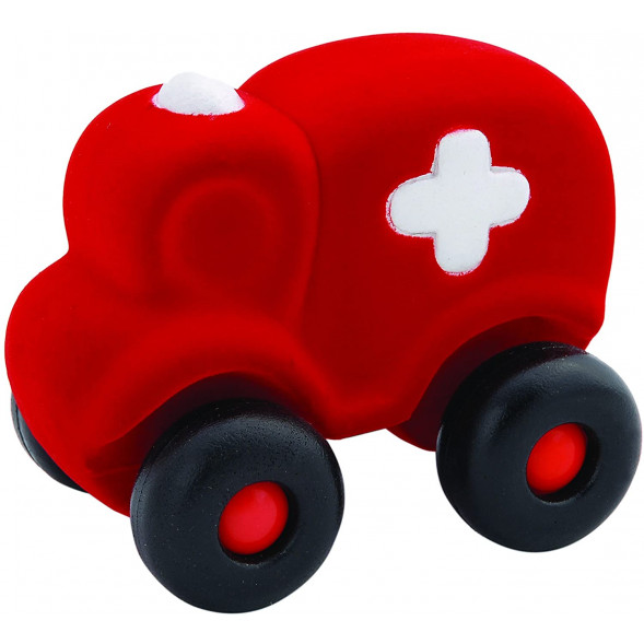 "Camion ambulance en caoutchouc naturel ""Rouge"" (18 cm)"