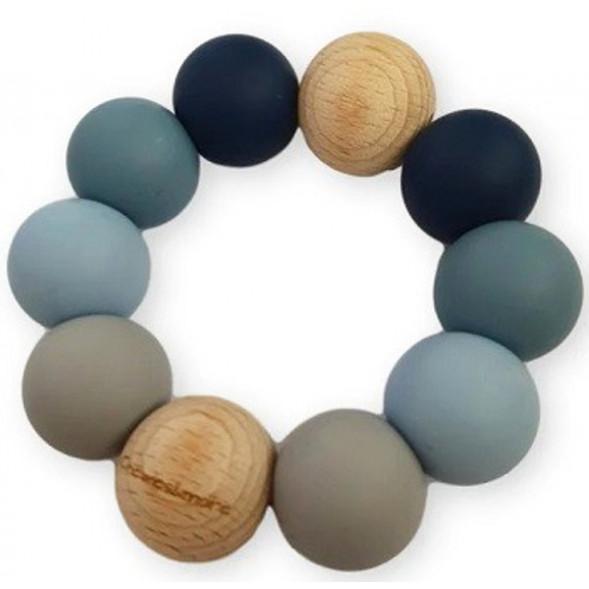 """Anneau de dentition en perles de bois et silicone Ombre """"Bleu"""""""