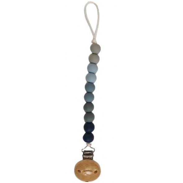 """Attache tétine en perles de silicone avec clip en bois Ombre """"Bleu"""""""