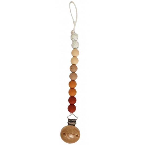 """Attache tétine en perles de silicone avec clip en bois Ombre """"Clay"""""""