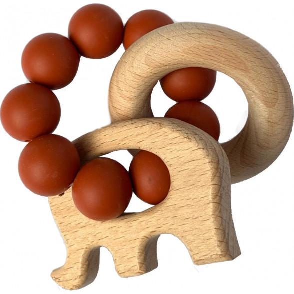 "Hochet de dentition en bois et perles de silicone Elephant ""Rusty Cinnamon"""