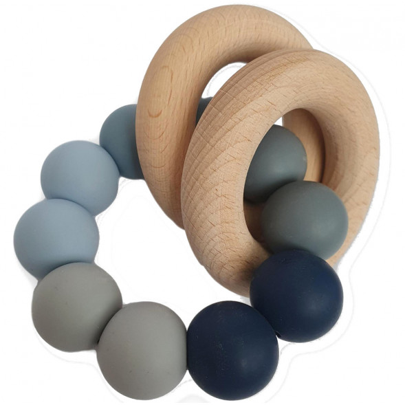 """Hochet de dentition en bois et perles de silicone Ombre """"Bleu"""""""
