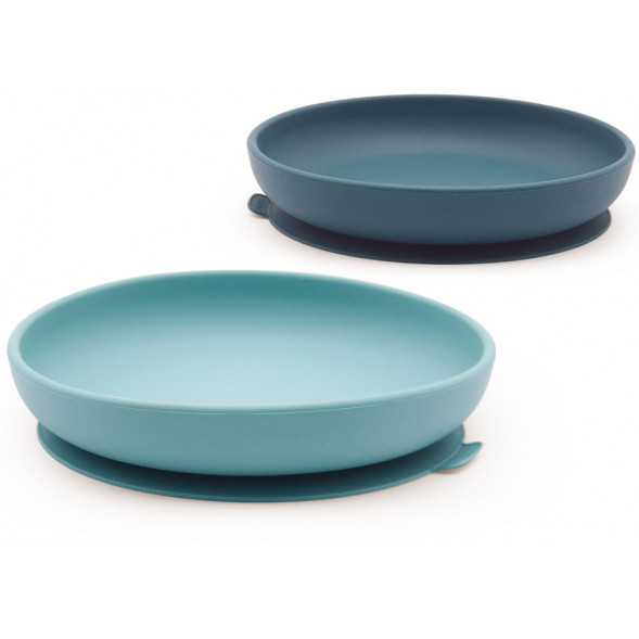 "Assiettes  anti-dérapantes en silicone ""Abyss/Lagoon"" (x2)"