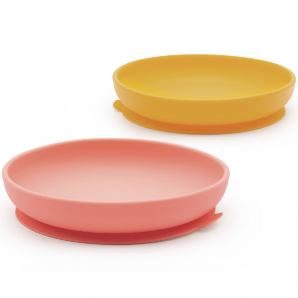 "Assiettes  anti-dérapantes en silicone ""Coral/Mimosa"" (x2)"