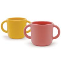 """Tasses d'apprentissage à anses en silicone """"Coral/Mimosa"""" (x2)"""