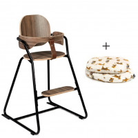 """Chaise haute évolutive Tibu en bois """"Black Edition"""" + Baby Set + Coussins (au choix)"""